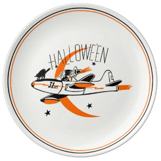 Vintage Halloween Witch Flying A Plane Plate