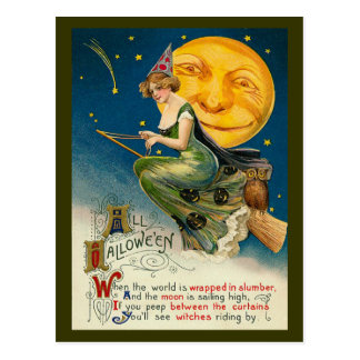 Vintage Halloween Witch Flying on her Magic Broom Postcard