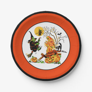 Vintage Halloween Witch & Ghost 7 Inch Paper Plate