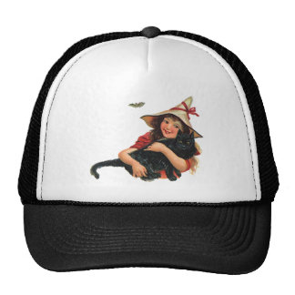 Vintage Halloween Witch Holding a Black Cat Trucker Hat