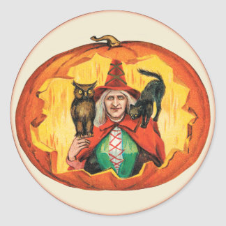Vintage Halloween Witch in a Jack O Lantern Stickers