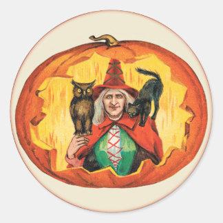 Vintage Halloween Witch in a Jack O'Lantern Round Sticker
