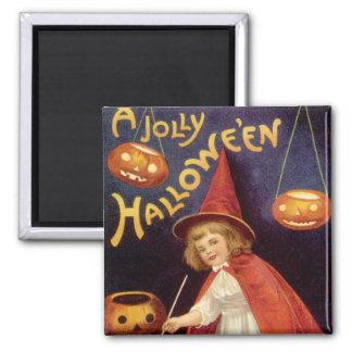 Vintage Halloween, Witch Jack o Lanterns Pumpkins Magnets