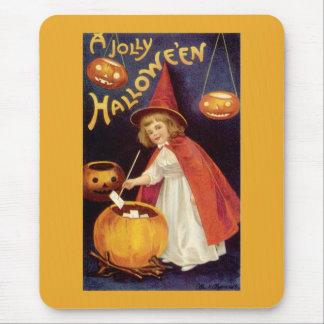 Vintage Halloween Witch Jack o Lanterns Pumpkins Mouse Pads