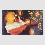 Vintage Halloween, Witch Jack o Lanterns Pumpkins Rectangle Stickers