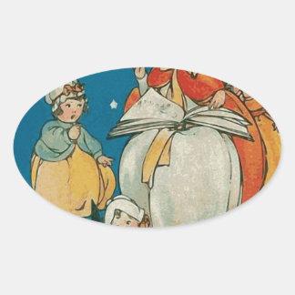 Vintage Halloween Witch Oval Sticker