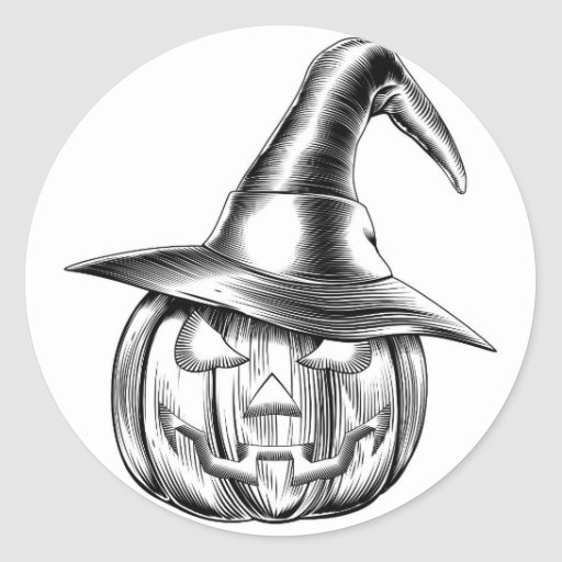 Vintage halloween witch pumpkin sticker