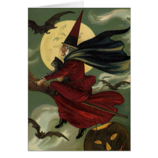 Vintage Halloween Witch Riding a Broom and Moon Greeting Card