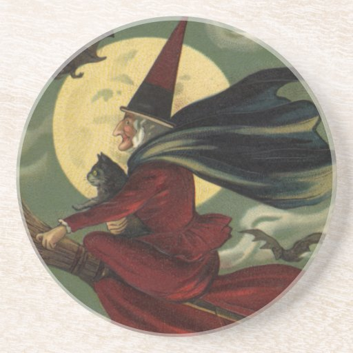 Vintage Halloween Witch Riding a Broom and Moon Drink Coasters