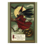 Vintage Halloween Witch Riding a Broom and Moon Personalised Invitations