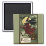 Vintage Halloween Witch Riding a Broom and Moon Magnet