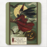 Vintage Halloween Witch Riding a Broom and Moon Mousepads