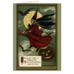 Vintage Halloween Witch Riding a Broom with Cat Greeting Card
