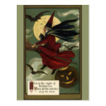 Vintage Halloween Witch Riding a Broom with Cat Postcard