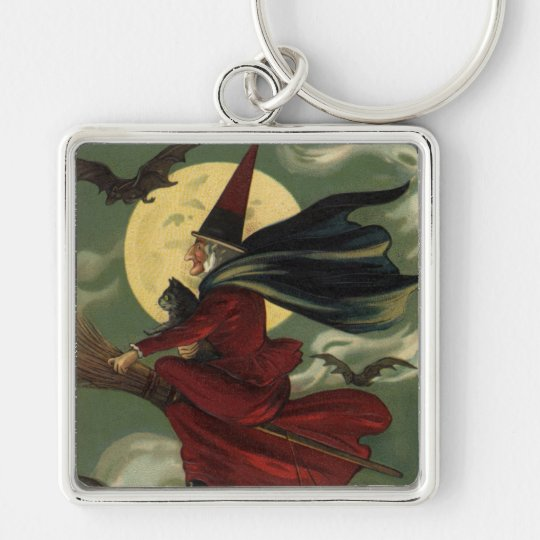 Vintage Halloween Witch Riding a Broom with Cat Silver-Colored Square Key Ring