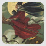 Vintage Halloween Witch Riding a Broom with Cat Square Sticker