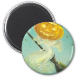 Vintage Halloween Witch Riding Broomstick Fridge Magnets