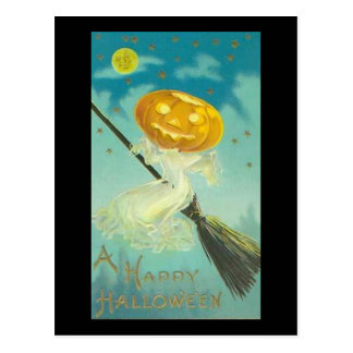 Vintage Halloween Witch Riding Broomstick Postcard