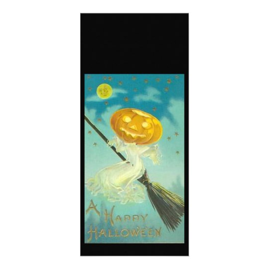 Vintage Halloween Witch Riding Broomstick Rack Card