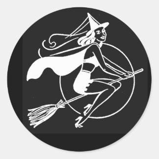 Vintage Halloween Witch Round Sticker