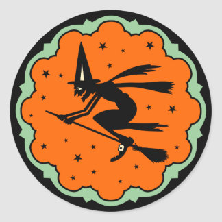 Vintage Halloween Witch Sticker