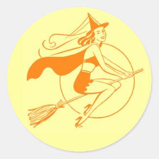 Vintage Halloween Witch Round Stickers