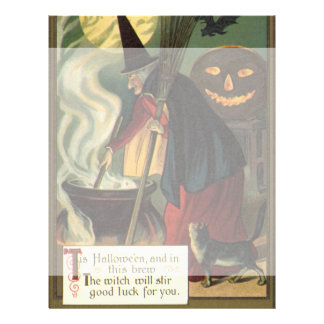 Vintage Halloween Witch Stirring Magic Cauldron 21.5 Cm X 28 Cm Flyer