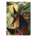 Vintage Halloween Witch Stirring Magic Cauldron Custom Invitation