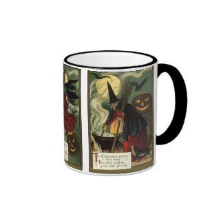 Vintage Halloween Witch Stirring Magic Cauldron Mug