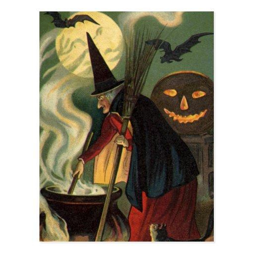 Crow And Cauldron Vintage Halloween: Vintage Halloween Witch Stirring Magic Cauldron Postcard