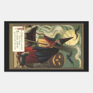 Vintage Halloween Witch Stirring Magic Cauldron Rectangular Sticker