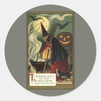 Vintage Halloween Witch Stirring Magic Cauldron Round Sticker