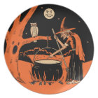 Vintage Halloween Witch with Cauldron Plate