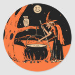 Vintage Halloween Witch with Cauldron Stickers
