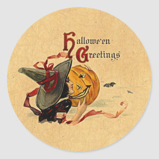 Vintage Halloween Witch With Red Ribbons Round Sticker