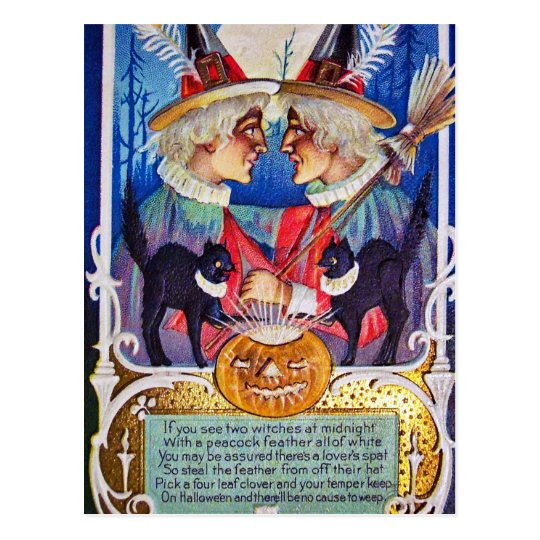 Vintage Halloween witches black cats postcard
