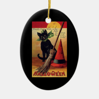 Vintage Halloween with a Black Cat and Witch's Hat Christmas Ornament