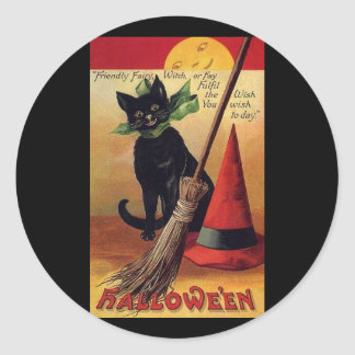 Vintage Halloween with a Black Cat and Witch's Hat Round Sticker