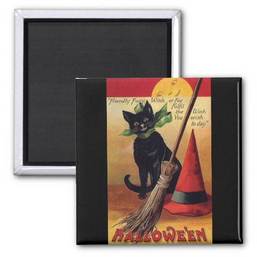 Vintage Halloween with a Black Cat and Witch's Hat Square Magnet