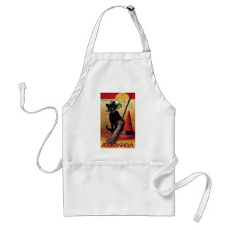 Vintage Halloween with a Black Cat, Broom and Hat Adult Apron