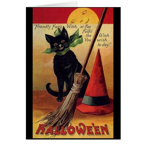 Vintage Halloween with a Black Cat, Broom and Hat Greeting Cards