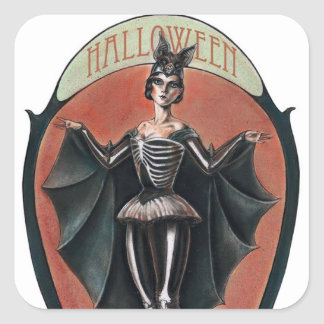 Vintage Halloween woman in costume sticker