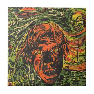 Vintage Halloween Zombies, Grafitti Street Art Tile