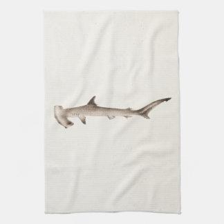 Vintage Hammerhead Shark Illustration Retro Sharks Tea Towel
