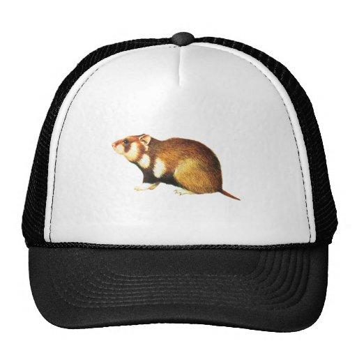 Vintage Hamster Illustration Mesh Hat