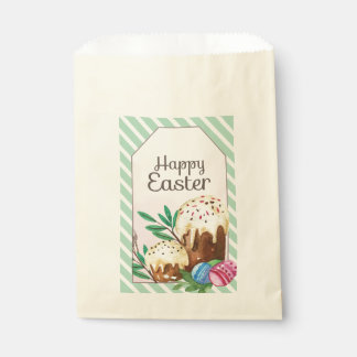 Vintage Hand drawn Easter Cakes on white stripes Favour Bags