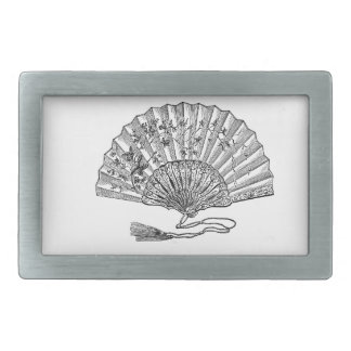 Vintage Hand Fan Rectangular Belt Buckle