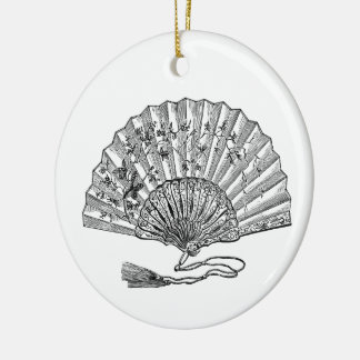 Vintage Hand Fan Round Ceramic Decoration