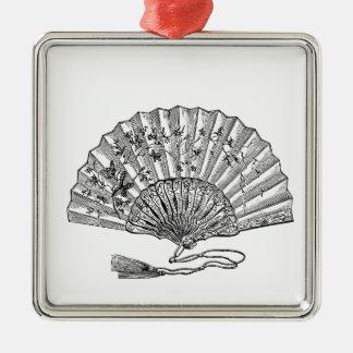 Vintage Hand Fan Silver-Colored Square Decoration