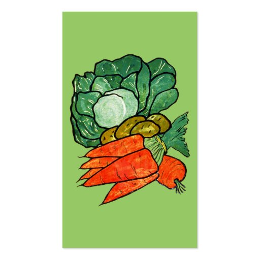 Vintage Hand-Painted Carrots, Lettuce & Potatoes Business Card Template